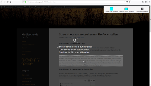 Aktives Firefox Screenshot-Tool