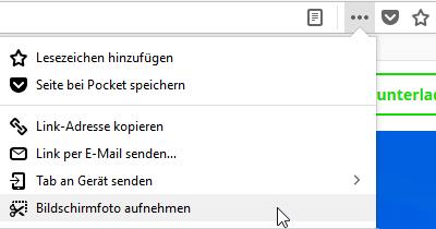 Firefox Screenshot-Tool aufrufen.