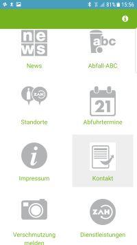 ZAH App Homescreen. Alle Informationen übersichtlich auf der Startseite.