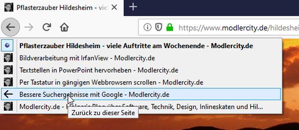 """Den """"Back-Button"""" in Firefox besser nutzen, um die vollständige Browserhistorie eines Tabs anzuzeigen."""