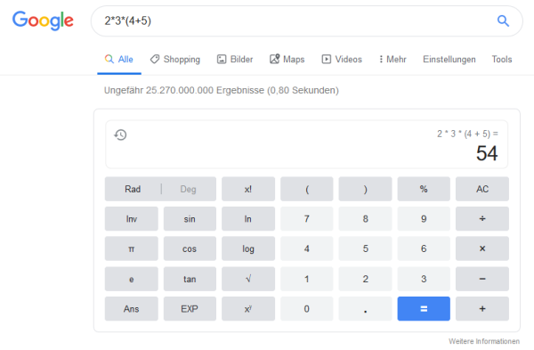 Die Suchmaschine Google lässt sich auch als Taschenrechner nutzen.