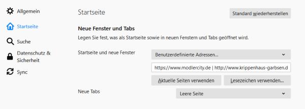 Mehrere Startseiten in Firefox. Einstellungen für Startseite und neue Fenster in Firefox