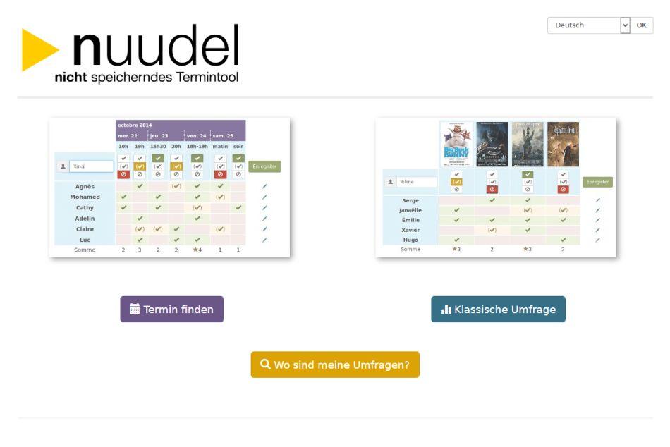 Das Umfragetool Nuudel.de - Startseite