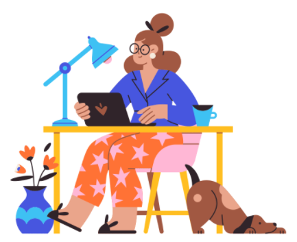 Working from home Illustrationen.